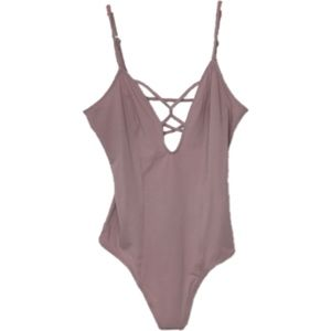 Express Strappy Lace up Pink Thong Bodysuit